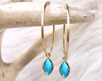 Blue Topaz Earrings, Birthstone Jewelry, Aqua Blue Earrings, Gemstone Drop Hoops, December Birthday Gift, 14kt Gold Filled Sterling Silver