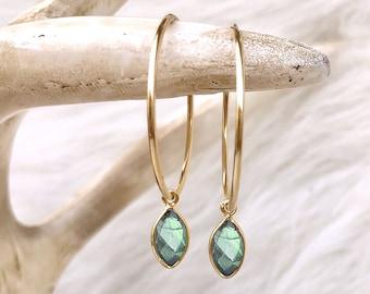 Labradorite Earrings, Labradorite Hoops, Gray Earrings, Gemstone Hoops, Endless Hoops, Blue Flash Stone, 14kt Gold Filled, Sterling Silver