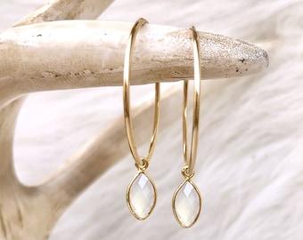 Moonstone Earrings, White Stone Earrings, Birthstone Earrings, Gemstone Hoops, June Birthday Gift, Jewelry, 14kt Gold Filled Sterling Silver