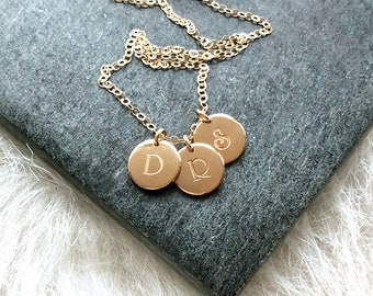 Three Initials Necklace, Necklace for Mom, Personalized Name Necklace, Minimal Initials, 3 Letters, 1 2 3 4 Initials, Gold Fill, Silver, 7mm