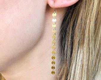 Gold Coin Threader Earrings, Long Dangle Earrings, Minimalist Earrings, Bridesmaid Earring Gift, 14kt Gold Filled, Rose or Sterling Silver