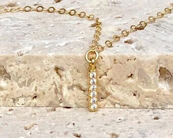 Dainty CZ Necklace, Cubic Zirconia Necklace, Tiny Diamond Necklace, Simple CZ Necklace, Everyday Layering Necklace, Minimal CZ Necklace,