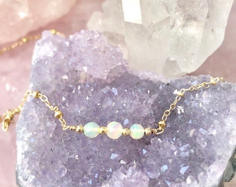 Genuine Ethiopian Opal Necklace, Dainty Gemstone Jewelry For Women, Faceted Opal Choker, Delicate Layered Necklace, 14kt Gold Fill  Silver