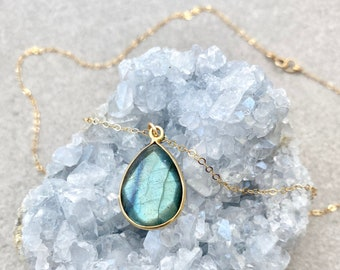 Labradorite Necklace, Gray Necklace, Natural Gemstone Jewelry, Teardrop Gemstone Necklace, Healing Necklace, 14kt Gold Fill Sterling Silver