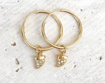 Tusk Earrings, Horn Earrings, Huggie Hoops, Hoop Earrings, CZ Charm Earrings, Minimalist Jewelry, in 14kt Gold Filled or Sterling Silver