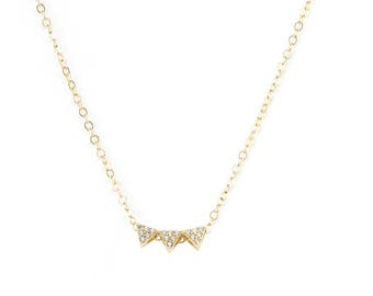 Tiny CZ Necklace, CZ Necklace, Delicate Diamond Necklace, Dainty Gold Cz Necklace, Minimal Layering Necklace, Gold Delicate Necklace, Gold