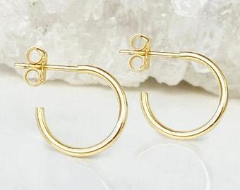 Super Shiny Small Hoop Post Earrings