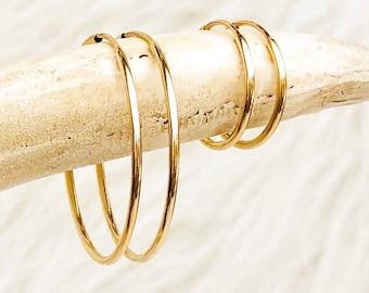 Dainty Hoop Earrings, 14kt Gold Filled Earrings, Sterling Silver or Rose Gold,  Minimalist Earrings, Classic Thin Hoops, Thin, Lightweight,