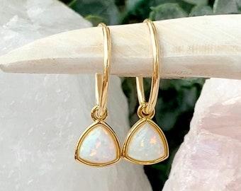 Opal Hoops, October Birthstone, Opal Huggie Hoop Earrings, Opal Jewelry, October Birthday Earrings, Triangle Hoop, 14kt Gold Filled & Silver