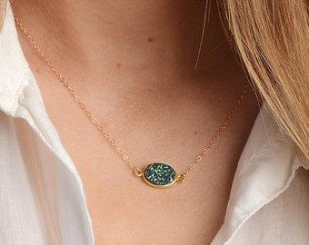 Druzy Necklace, Layering Necklace, Dainty Delicate Necklace, Minimal Gemstone Necklace, Simple Necklace, Gift for her, Bridesmaid Gift, Gold