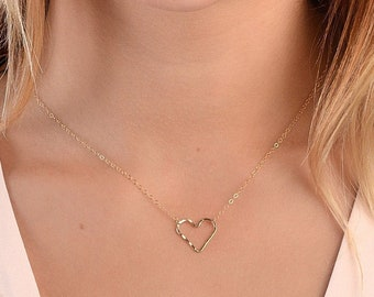 Open Heart Necklace, Dainty Heart Necklace, Heart Outline Necklace, Simple Thin Heart Necklace, 14kt Gold Filled, Rose or Sterling Silver