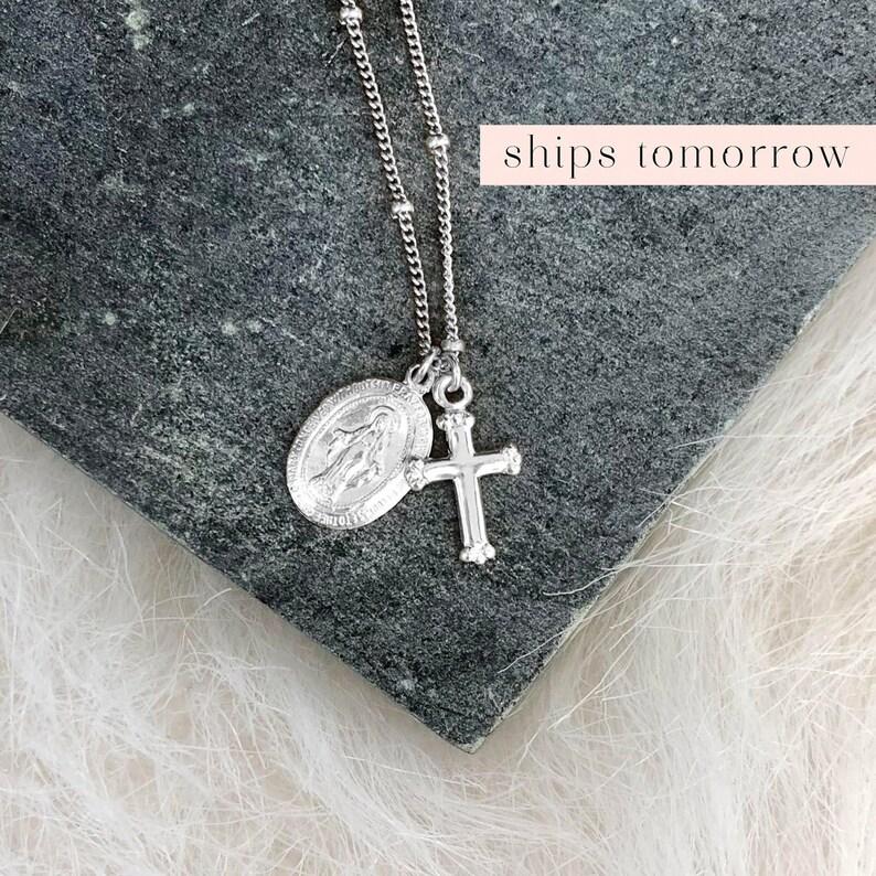 Silver Religious Medal Virgin Mary Pendant Dainty Cross image 0