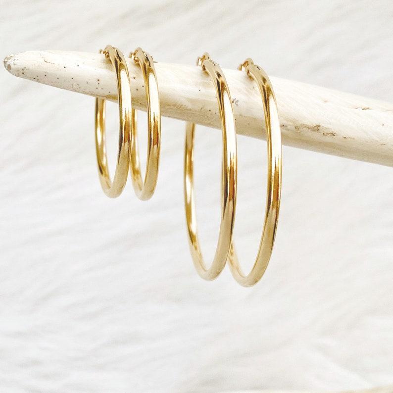 Dainty Hoop Earrings 14kt Gold Filled Earrings Sterling image 0