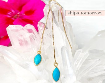 Turquoise Drop Earring, Minimalist Threader Earrings, December Birthstone Ear Threaders, Bridesmaid Gift, Raw Crystal Earrings, Gold Filled