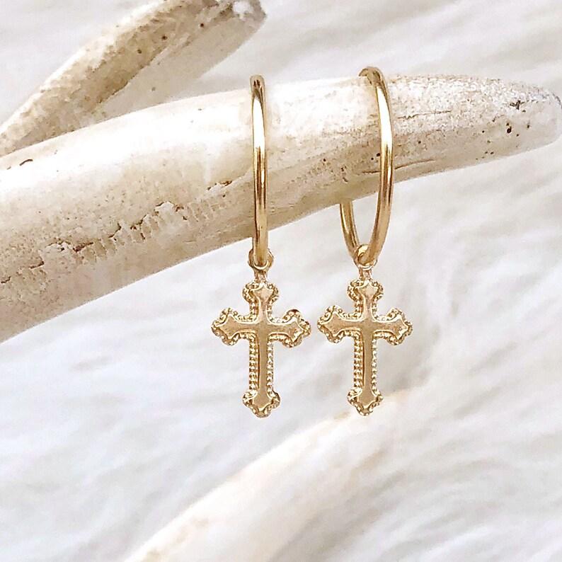Gold Filled Cross Earrings Religious Earrings Silver Cross image 0