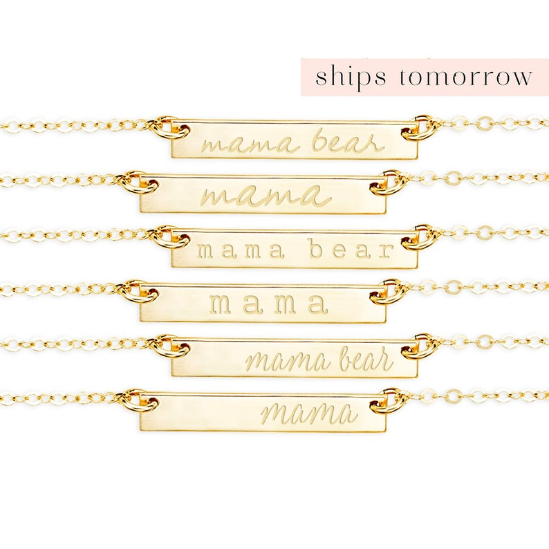 New Mom Necklace Gold Bar Mother Necklace Mama Bear image 0