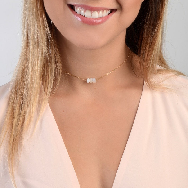 Dainty Chain Choker Delicate Gold Choker Necklace Moonstone image 0