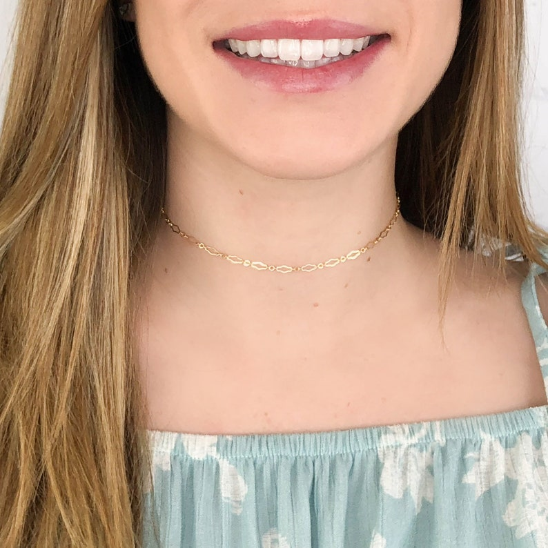 14kt Gold Filled Choker Dainty Chain Choker Simple Silver image 0