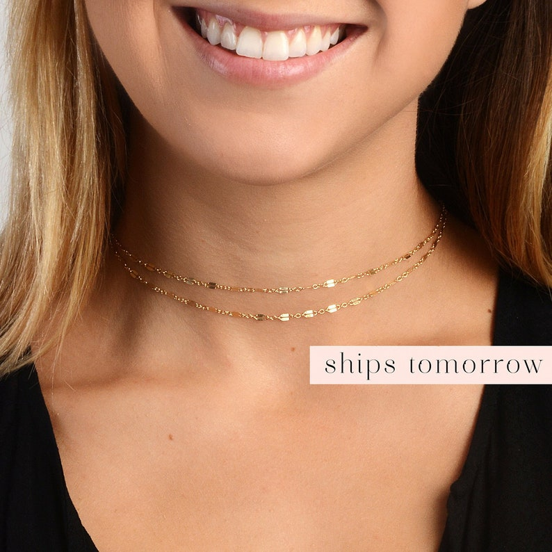 Gold Necklace Gold Choker Minimalist Jewelry Layer image 0