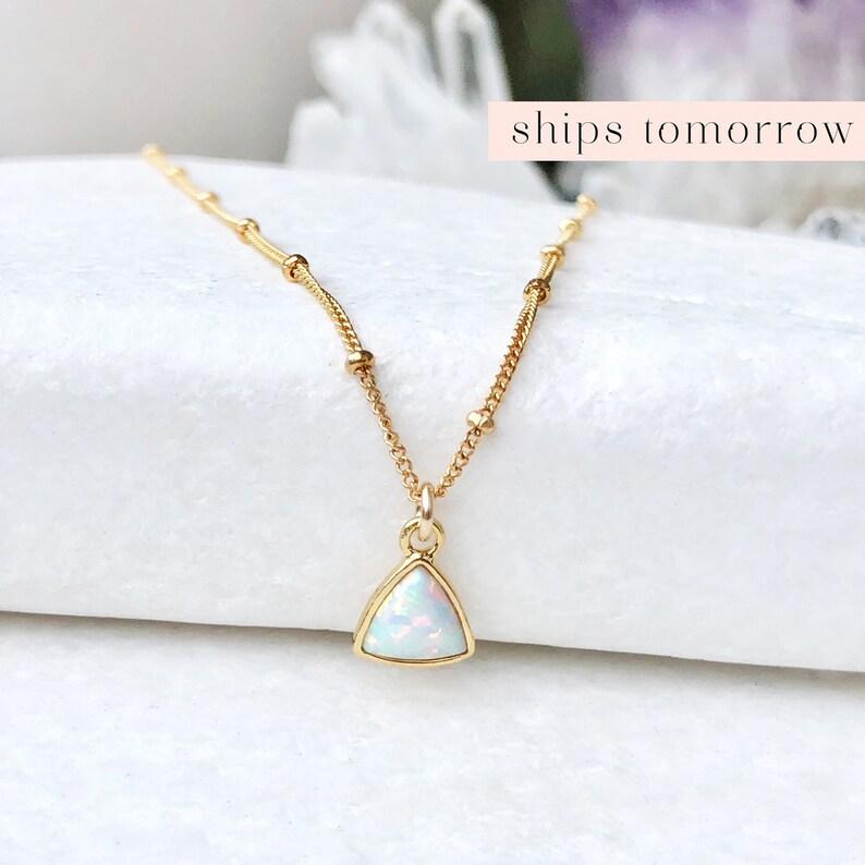 Dainty Opal Necklace Opal Choker Gemstone Choker Delicate image 0