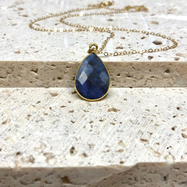 Raw Sapphire Necklace Natural Gemstone Necklace September image 0