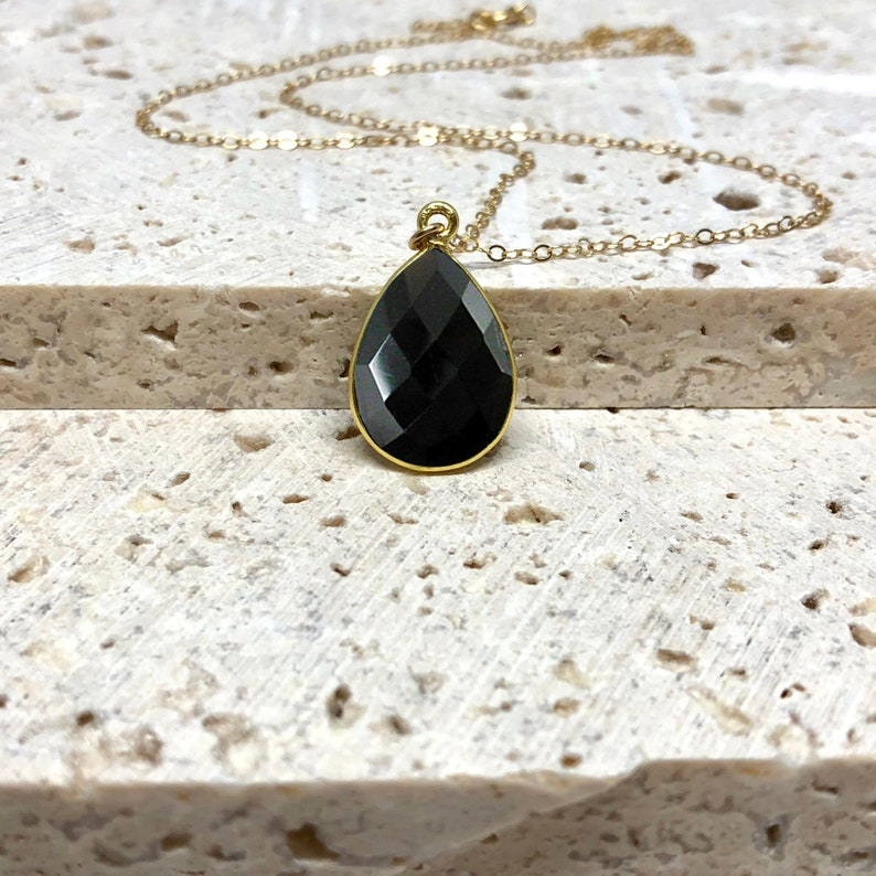 Black Onyx Necklace Teardrop Gemstone Pendant Black Stone image 0