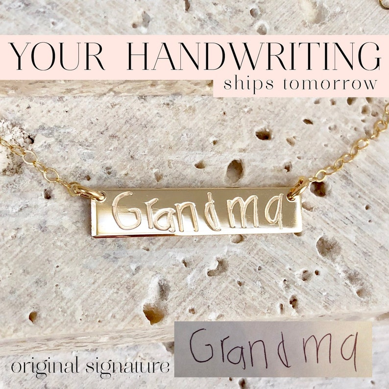 Your Actual Handwriting Bar Necklace Custom Signature image 0