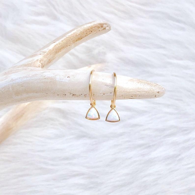White Opal Earrings Gemstone Earrings October Birthstone image 0