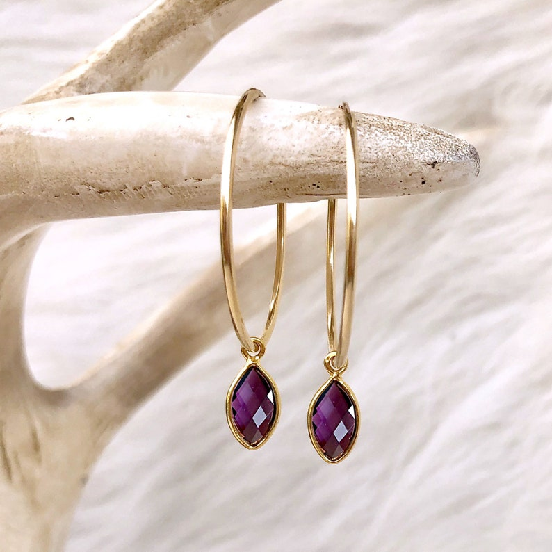 Amethyst Hoop Earrings Gemstone Drop Earrings Raw Stone image 0