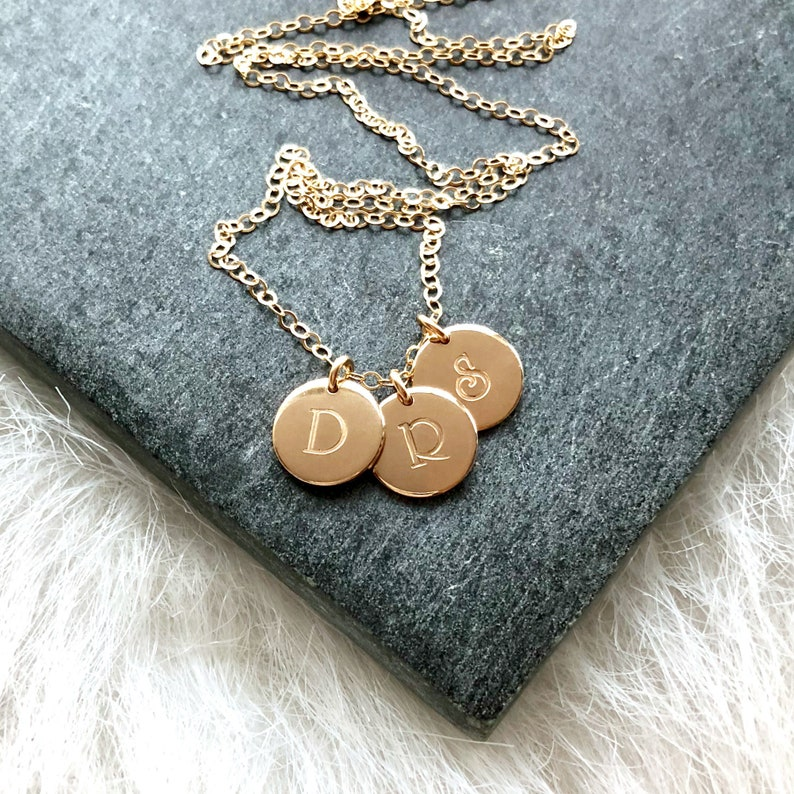 Three Initials Necklace Necklace for Mom Personalized Name image 0