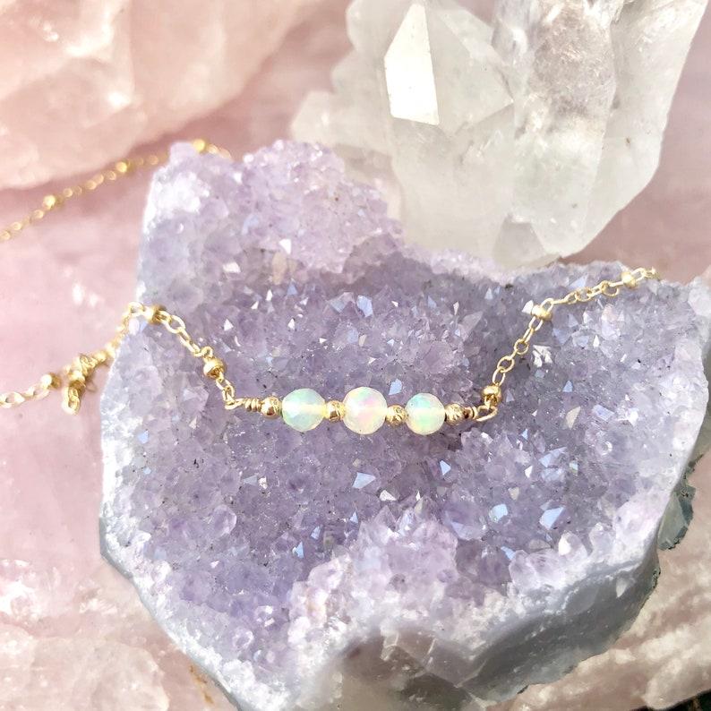 Genuine Ethiopian Opal Necklace Dainty Gemstone Jewelry For image 0