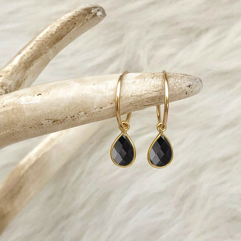 Black Onyx Earrings Black Stone Earrings Black Onyx Hoops image 0