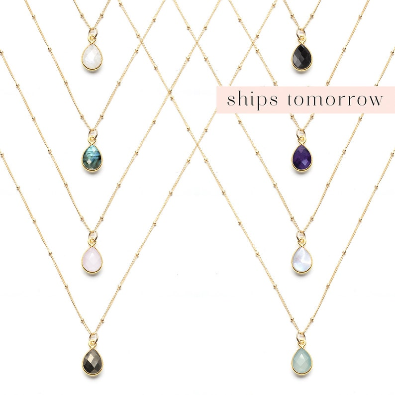 Delicate Gemstone Necklace Dainty Layering Necklace image 0