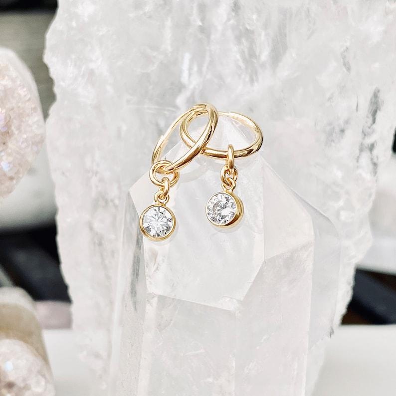 Cz Dangle Earrings CZ Drop Earrings Cz Hoops Hoop Earrings image 0