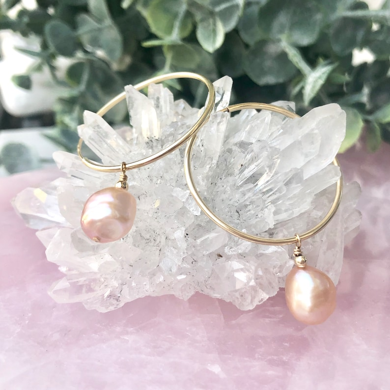 Pearl Hoop Earrings Pearl Earrings Baroque Pearl Hoops image 0