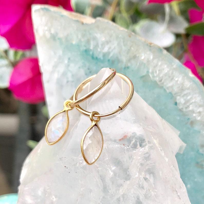Moonstone Hoop Earrings Gemstone Hoops Minimalist Earrings image 0