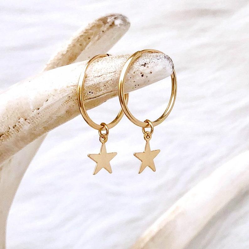 Star Hoop Earrings Star Earrings Tiny Star Hoops Hoops with image 0