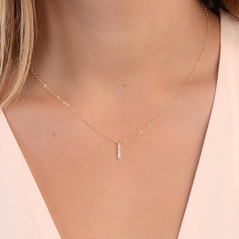 Tiny Gold Diamond Bar Necklace Dainty Silver CZ Necklace image 0