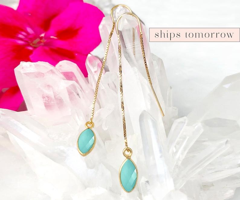 Aqua Chalcedony Drop Earring Minimalist Threader Earrings image 0
