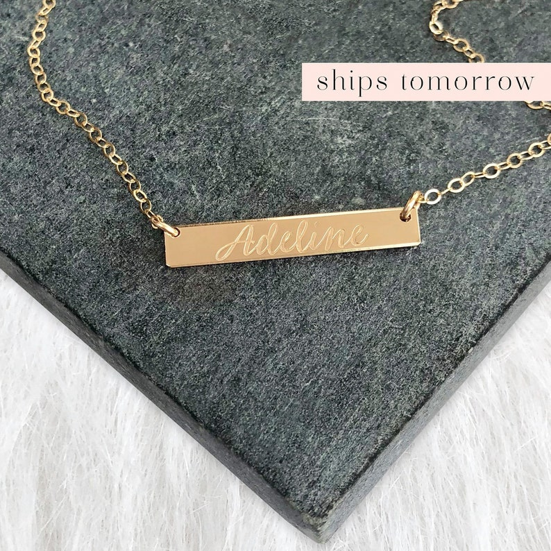 Gold Name Necklace Personalized Bar Necklace Delicate Bar image 0