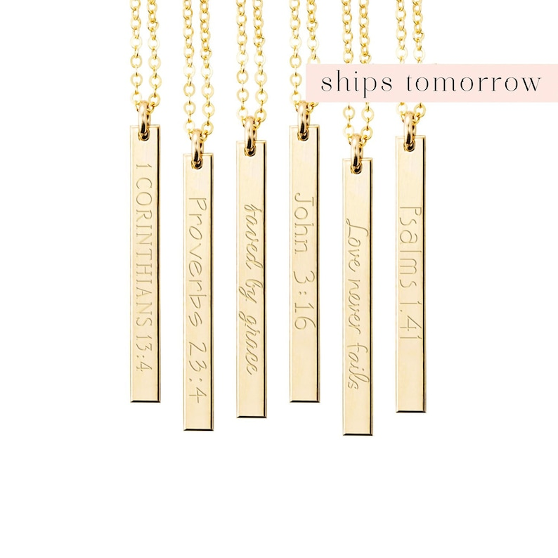 Personalized Engraved Bar Necklace Bible Verse Necklace image 0