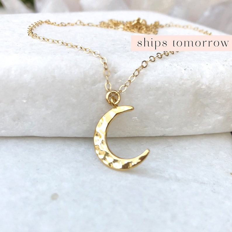 Hammered Crescent Moon Necklace Simple Dainty Half Moon image 0