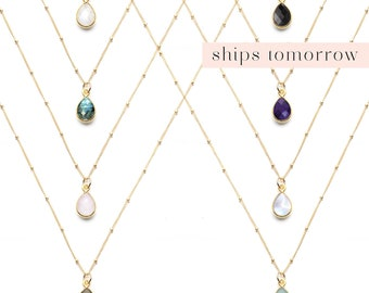 Dainty Bezel Teardrop Gemstone Pendant, Delicate Gold Filled or Sterling Silver Chain, Bridesmaid Gift, Simple Minimalist Layered Necklace