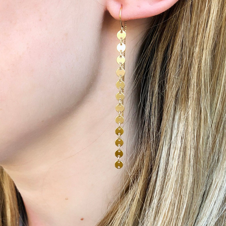 Gold Coin Threader Earrings Long Dangle Earrings Minimalist image 0