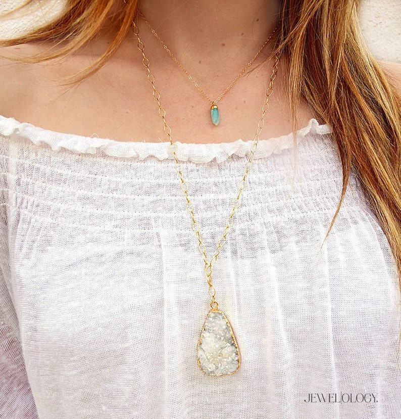 Druzy Necklace Long Gold Necklace Gemstone Necklaces for image 0