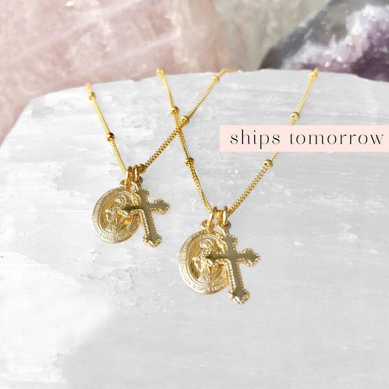 Dainty Virgin Mary Necklace Gold Cross Necklace Catholic image 0
