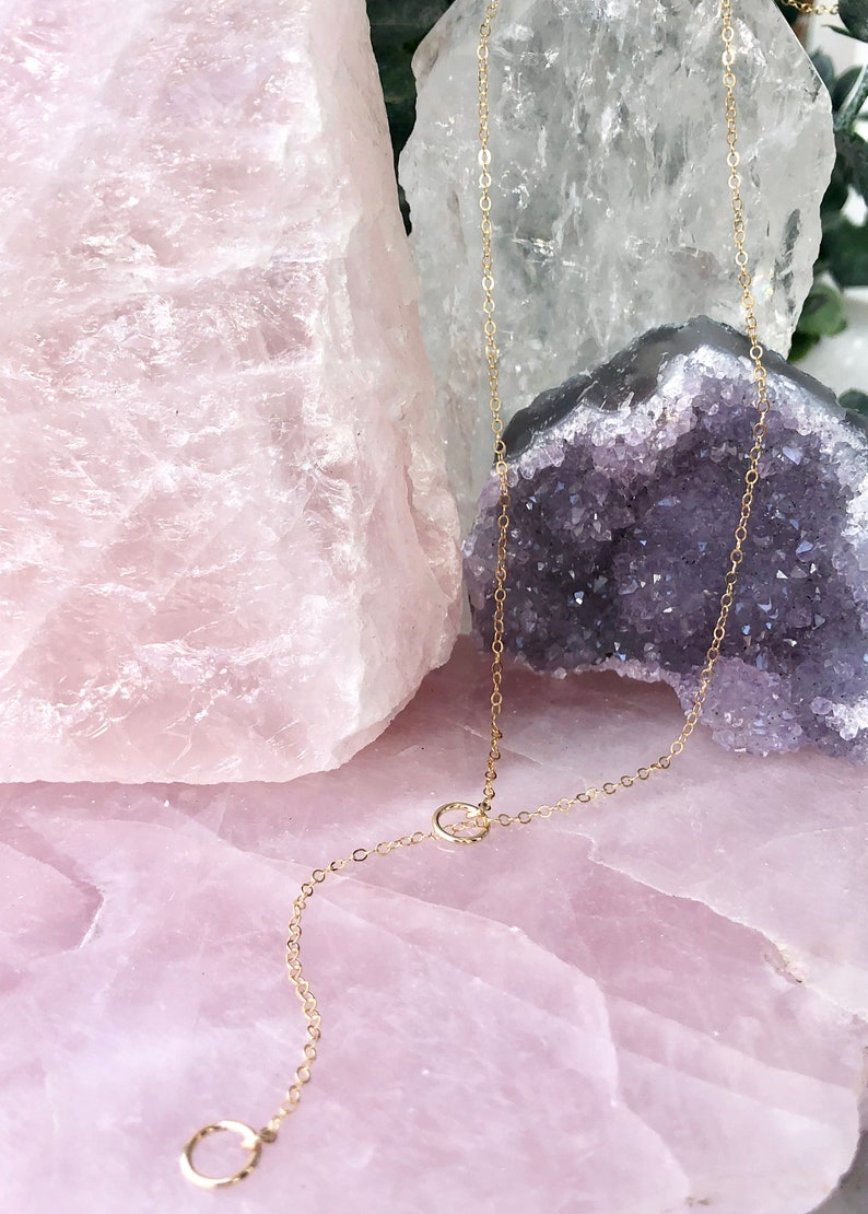 Lariat Necklace Gold Fill Y Drop Rose Bohemian Jewelry Delicate Y Necklace Layering Necklace Dainty Lariat Simple Lariat Silver