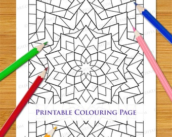 abstract kaleidoscope geometric printable colouring page etsy