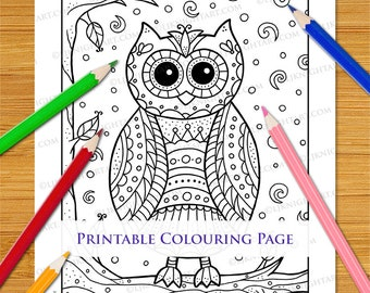 Cartoon Owl Doodle Colouring Page - Hand Drawn Printable Download With Cute Bird / Animal