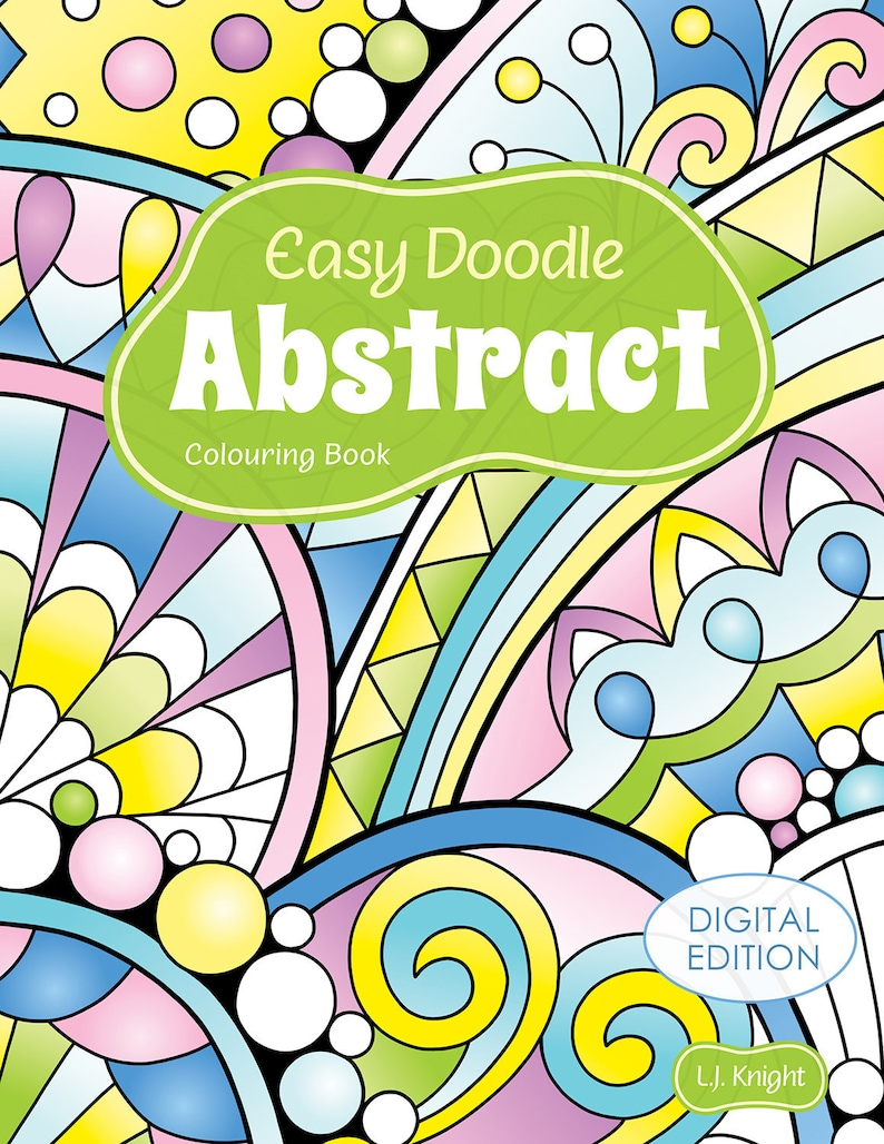 Easy Doodle Abstract Printable Colouring Book  30 Simple Hand image 0